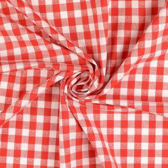 Tissu coton Vichy cœurs et grands carreaux rouge