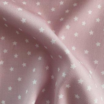 Tissu piqué de coton motifs étoiles vieux rose