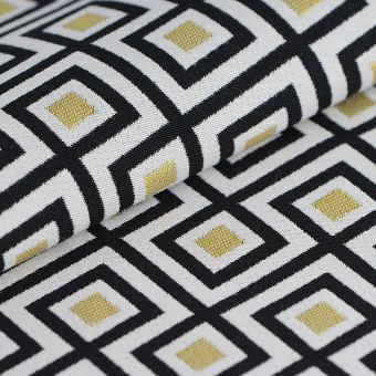 Tissu jacquard art déco jaune blanc