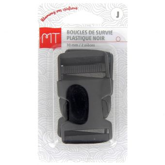 Boucles à ouverture rapide noires en plastique 30 mm