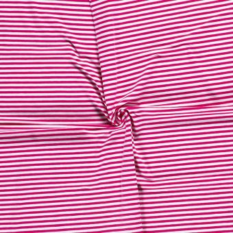 Tissu Jersey coton rayure fuchsia