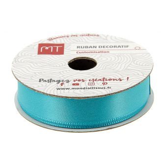 Bobine ruban satin bleu turquoise 13 mm