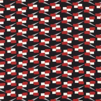 Tissu satin polyester rouge et noir cubes