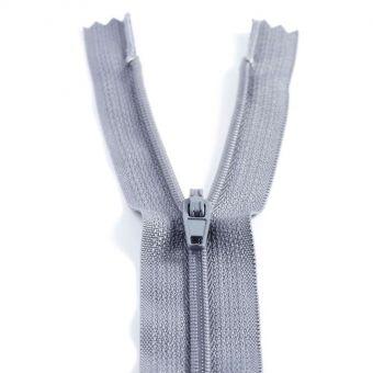 Fermeture polyester non séparable à glissière - Gris