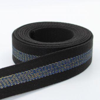 Ruban sangle épais 34mm lurex noir bleu