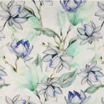 Tissu 100% lin impression digitale fleurie - vert et bleu