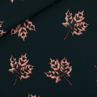 Tissu French terry sweat noir forest river motifs feuilles d'érable - See You At Six