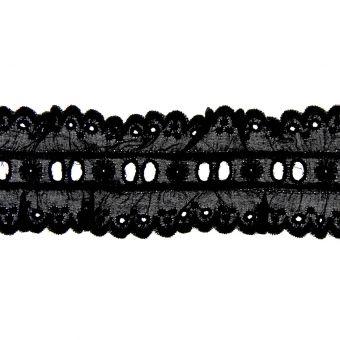 Ruban dentelle coton noir 50mm