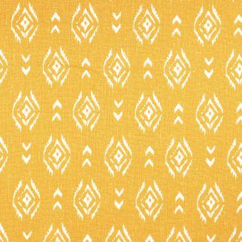 Toile lin viscose jaune motif ethnique