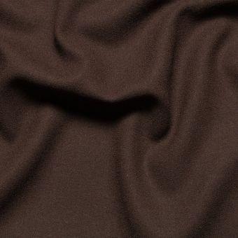 Tissu crêpe de laine marron uni fait en Italie