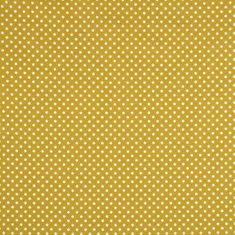 Tissu coton ponto motif petit pois moutarde