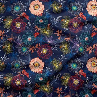 Tissu triple gaze coton bio fleurs de nuit - La Panda Love Fabrics