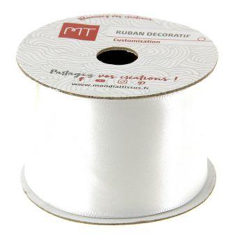 Bobine ruban satin blanc 38 mm