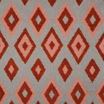 Tissu jacquard losanges rouge Lombok