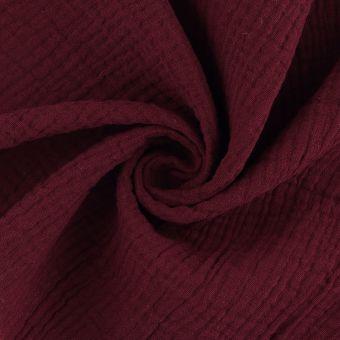 Tissu double gaze coton rouge carmin
