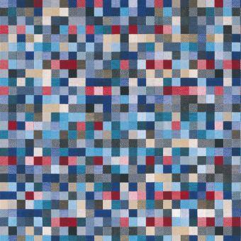 Tissu jacquard Géo carrés bleu et lurex argenté