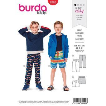 Patron burda 9292 Pantalon et short à ceinture extensible de 4 à 11 ans