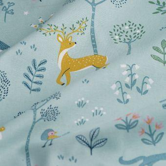Tissu coton épais animaux de la forêt