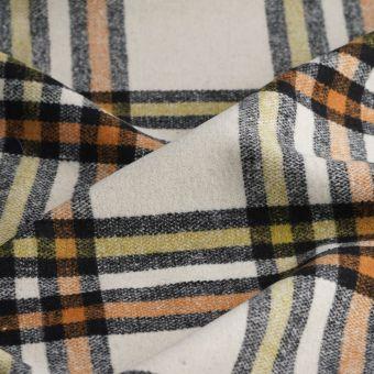 Tissu lainage polyester et laine fond écru à carreaux