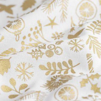 Tissu de noël coton épais blanc doré