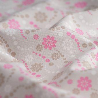 Tissu popeline coton fleurs beiges roses