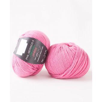 Pelote de laine Phildar mérinos 6 pétunia