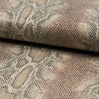 Tissu toile viscose effet serpent marron