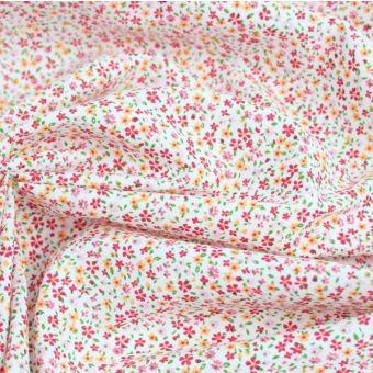 Cretonne de coton blanche à imprimé petites fleurs victoria