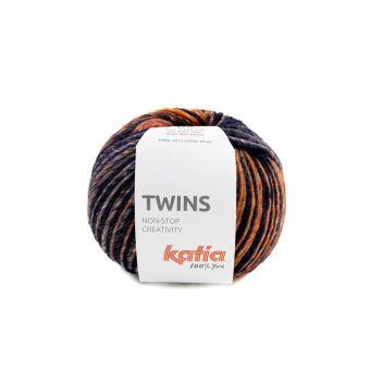 Pelote de fil à tricoter Katia Twins bordeaux orange bleu