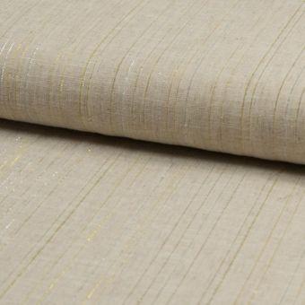 Toile lin coton beige rayures