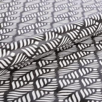 Tissu enduit brillant feuillages noirs - AU Maison