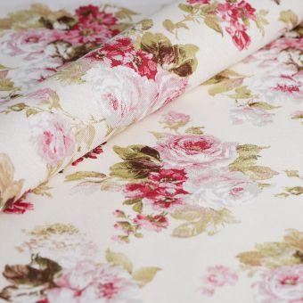 Tissu ottoman coton recyclé fleurs