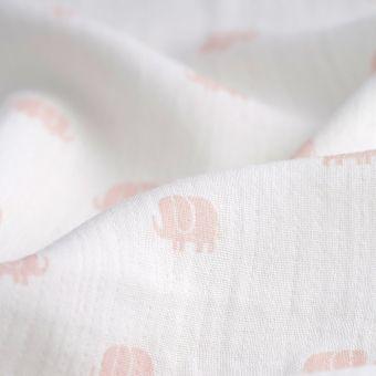 Tissu lange imprimé éléphants roses
