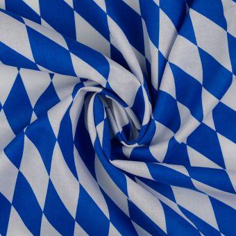 Tissu coton popeline grandes losanges bleu