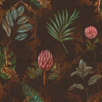 Tissu velours jardin botanique marron