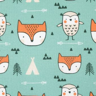 Tissu coton vert renards