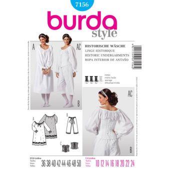 Patron Burda 7156 Historique Sous-Vêtements Femme du 36 au 50