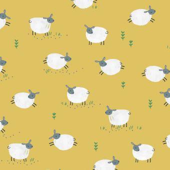 Tissus popeline de coton Dashwood motifs moutons jaune
