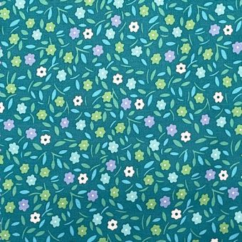 Tissu Popeline de coton peace and love turquoise - Petit Pan