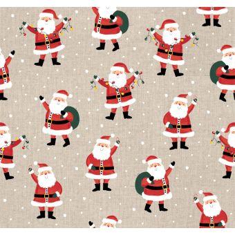 Tissu de Noël coton épais Père Noël et cadeaux