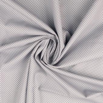 Tissu popeline de coton gris clair à motifs pois