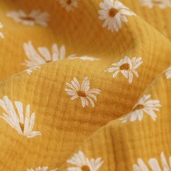 Tissu double gaze coton marguerites jaune moutarde