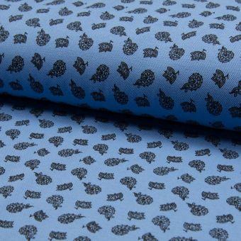 Tissu piqué de coton à motifs cachemire bleus clairs