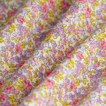 Tissu popeline coton fleurs roses