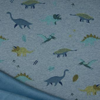Tissu molleton sweat dinosaures bleu à envers polaire alpfleece