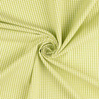 Tissu coton Vichy petits carreaux vert