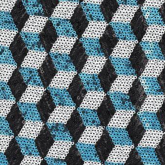 Tissu sequins cubes bleu, noir et blanc