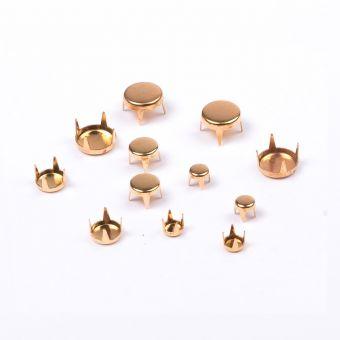 Lot de 12 griffes rond plat or 4 a 8 mm