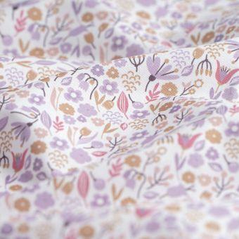 Tissu cretonne fleurette Alice violet