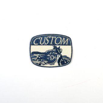 Écusson thermocollant Custom moto bleu